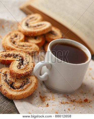 Coffee And Biscuits With Poppy Seeds And Sugar