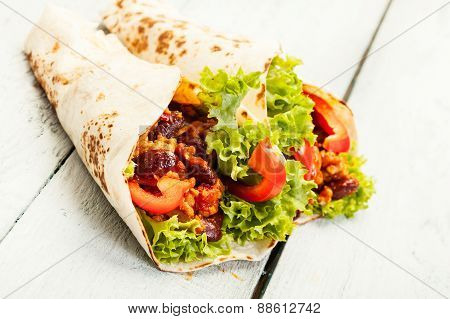 Tortilla With Meat And Beans