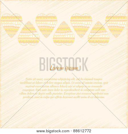 Vector Background With Doodle Hearts In Beige Tones