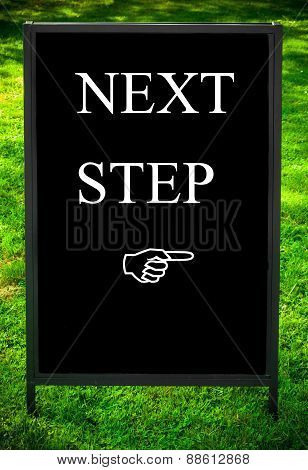 Next Step Message And Hand Pointing To The Right