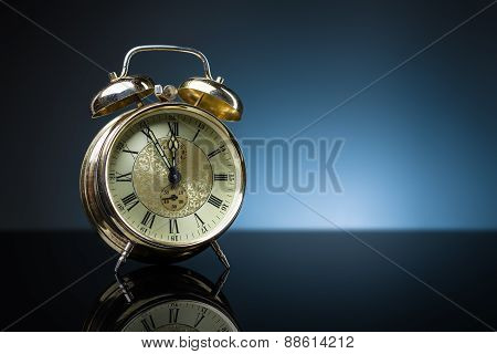 Retro Clock, Five To Twelve, Blue Background