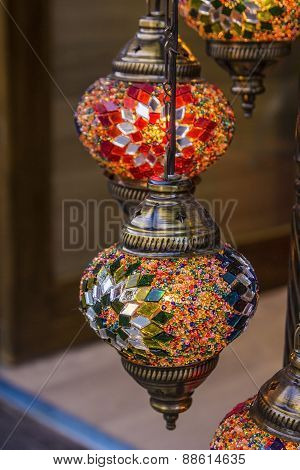 Turkish decorative lamps of glass mosaics in the bazaar
