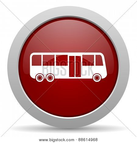 bus red glossy web icon