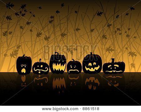 Halloween scene with jack-o-lanterns