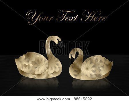 Gold Swans on Black Background