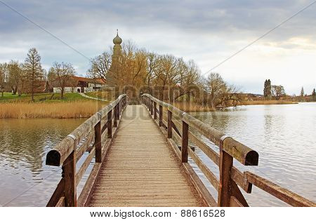 Wooden Bridge In Pictorial Landscape