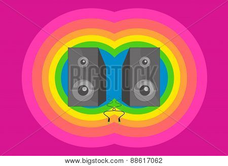 retro vintage vector music background with two speakers