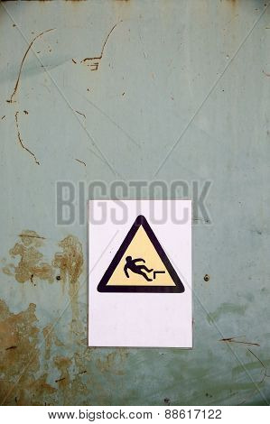 Fall Hazard Sign On Industrial Background
