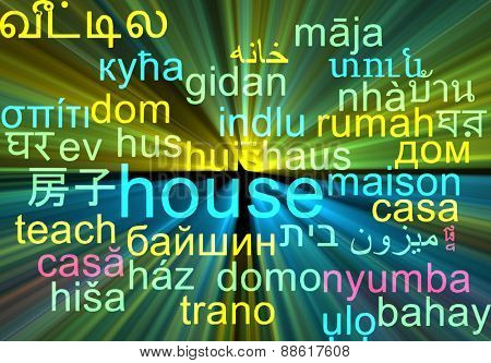Background concept wordcloud multilanguage international many language illustration of house glowing light
