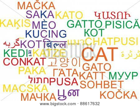 Background concept wordcloud multilanguage international many language illustration of cat