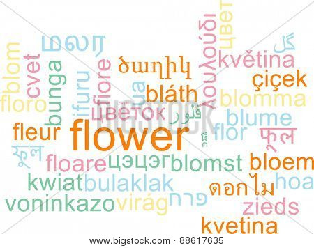 Background concept wordcloud multilanguage international many language illustration of flower
