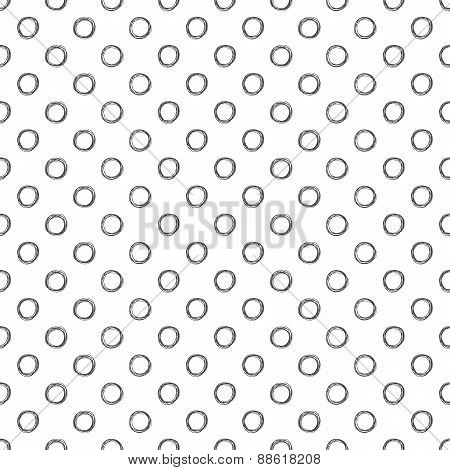 Seamless polka dot pattern with hand drawn dots