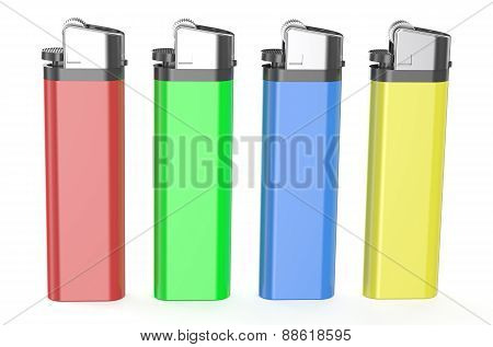 Four Colored Plastic Lighters