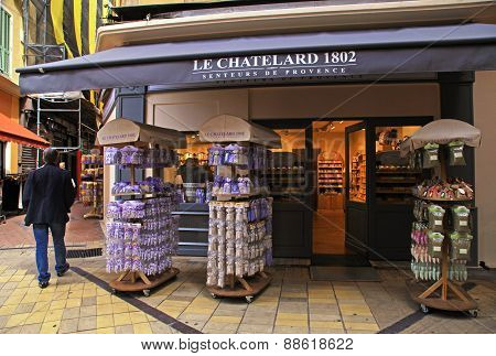 Lavender Cosmetics And Gifts In A Street Shop In Old Town Of Nice, France.