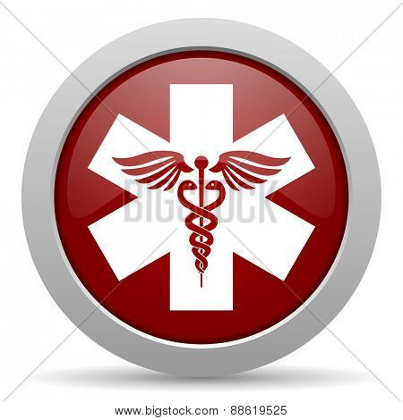 emergency red glossy web icon