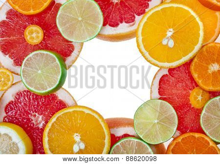 slices citrus mixed  top view surface  isolated on white background