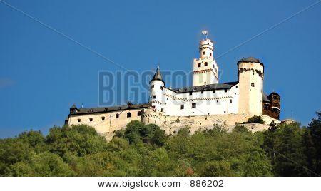 German Castle On Hills Of River Rhine