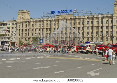Fire engines at the exhibition stand under the open sky on the forecourt of Volgograd