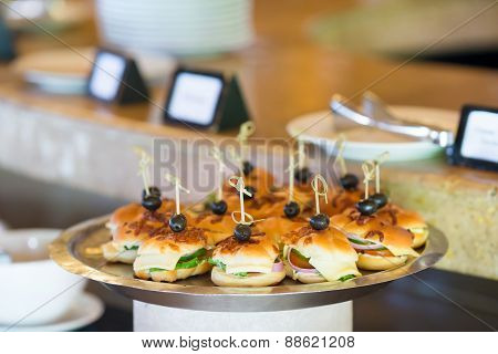 Tasty mini hamburgers sliders on plate