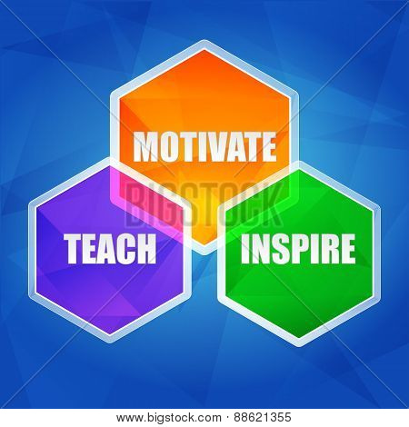 Teach, Inspire, Motivate In Hexagons, Flat Design