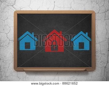 Privacy concept: home icon on School Board background