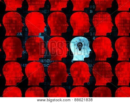 Finance concept: head with light bulb icon on Digital background
