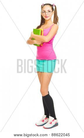 Schoolgirl with books isolated on white