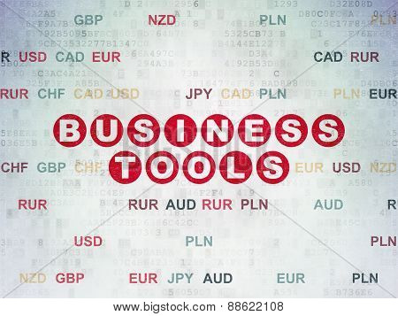 Finance concept: Business Tools on Digital Paper background