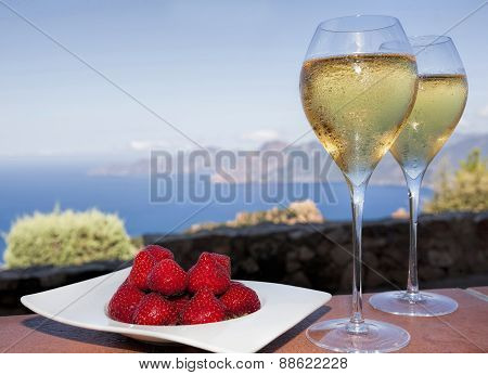 Romantic Drink In Corsica With Strawberries And White Wine