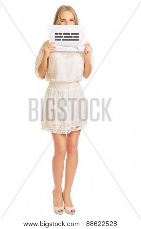 Young girl with chat banner isolated