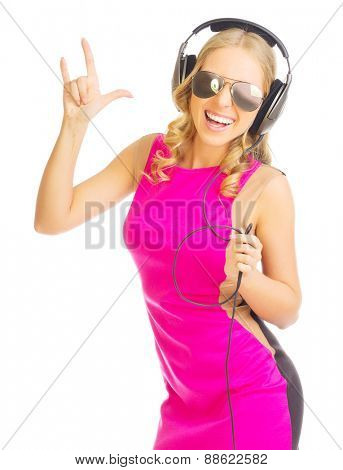 Young girl with headphones isolated