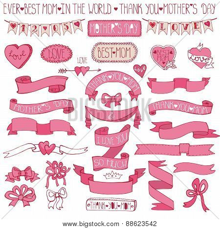 Mothers day pink decor set.Hand drawing Ribbons,lettering