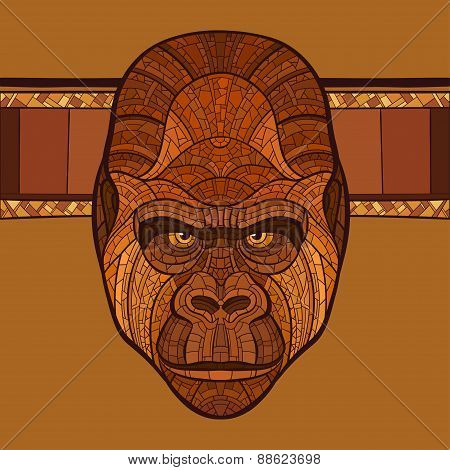 Ape gorilla head with ethnic ornament