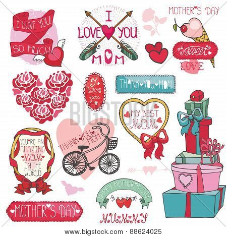 Mothers day decor elements set.Ribbons,frames,roses,hearts,lette
