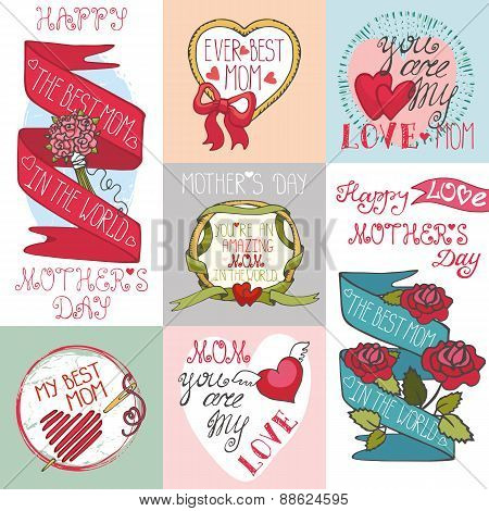 Mothers day cards set.Labels, decor elements,hearts,lettering