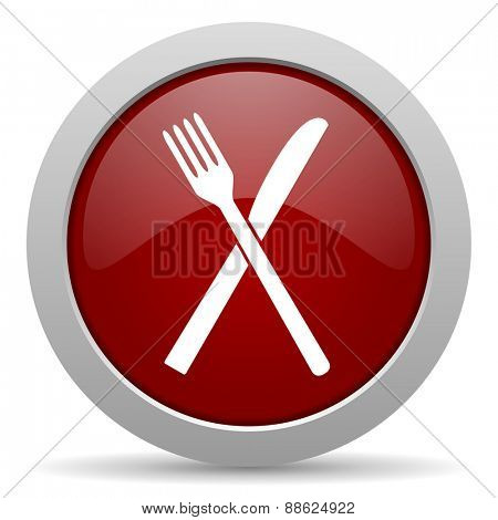 restaurant red glossy web icon