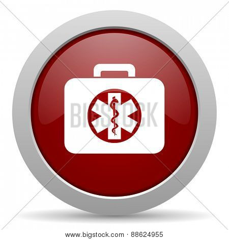 rescue kit red glossy web icon
