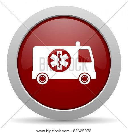 ambulance red glossy web icon