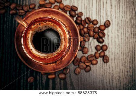 Vintage cup of coffee, closeup