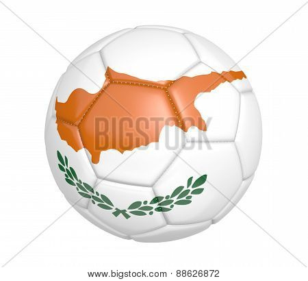 Soccer ball, or football, with the country flag of Cyprus