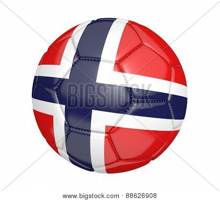 Soccer ball, or football, with the country flag of Norway