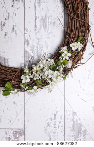 Close up of a spring blossom wreath with copy space