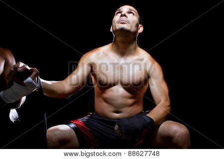 Latino Fighter Praying To Win