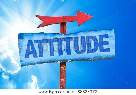 Attitude sign with sky background