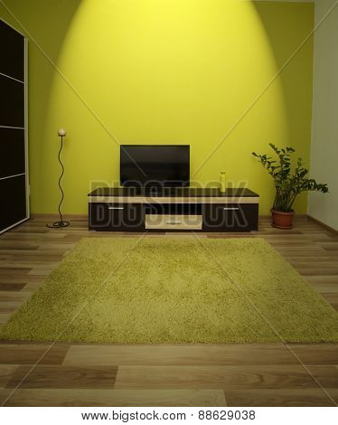 Modern and simple living room interior with spot light on the TV