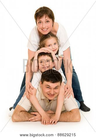 happy family on white