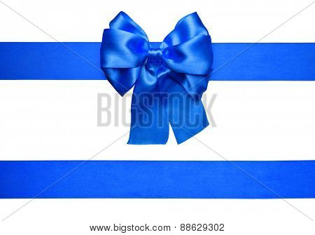 blue bow and ribbon made from silk