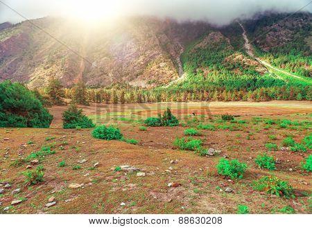 Beautiful landscape in Himalayas mountains, Annapurna area.
