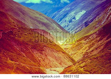 Beautiful landscape in Himalayas mountains, Annapurna area.