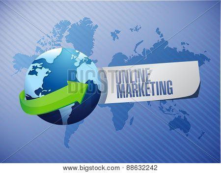 Online Marketing Globe Sign Illustration